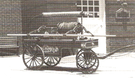 First fire apparatus of The Glen Rock Hose and Ladder Company, a 1849 Rumsey Hand Pumper. Acquired November 8th, 1901