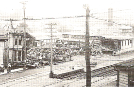J.F & H.O. Neuhaus and Read Machinery Company after a fire on july 1st, 1921. View is from Geiple's Hill looking across Main Street.