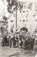 A crowd gathered in front of The Glen Rock Fire Hall for the engine dedication, March 22nd, 1922.
